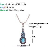 Bohemian Infinity Turquoise Crystal Pendant Tibetan Silver Vintage Necklace