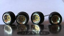 HOT WHEELS RUBBER TIRES  BBS TYPE STAR YELLOW CHROME NEW REAL RIDERS ALL SMALL