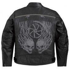 Harley Davidson Men's T-3 Black Leather Reflective Jacket Skull L 97073-11VM