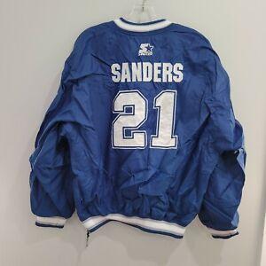 VTG 90s Starter NFL Dallas Cowboys Deion Sanders #21 Pullover Jersey Jacket Sz L