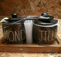 "Rae Dunn Black ""HONEY"" and ""JELLY"" Set With Spoon & Wooden Tray"
