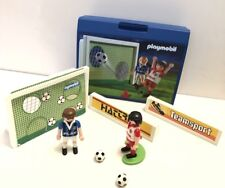 PLAYMOBIL 4701 FOOTBALL SHOOT OUT GOAL SET. PLASTIC CARRY CASE. 2 PLAYERS.