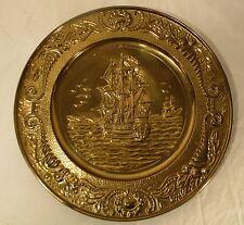 "Vintage Brass Wall Hanging Plaque Ships Nautical Metalware Embossed 14.5"""
