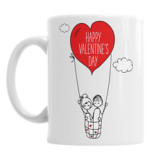 Happy Valentine's Day Love Heart Hot Air Ballon Valentines Coffee Novelty Mug