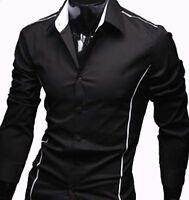 New Mens Casual Slim Dress Shirts - (#22) Black / Grey - UK size S/M/L/XL/XXL