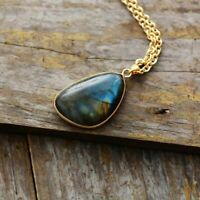 Pendant Necklace Natural Stone Labradorite Gold Tone Chain Gems Jewelry Bohemian