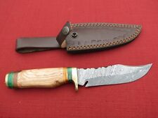 Large Damascus Bowie knife w/ blonde colored wood  handle & leather sheath
