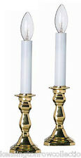"""Warwick"" Octagonal Brass Electric Window Candlestick Lamps - Set Of Two"