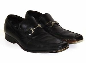 VIA SPIGA Black Leather Square Toe Horsebit Slip-On LAZAR Loafers Shoes 8.5 M