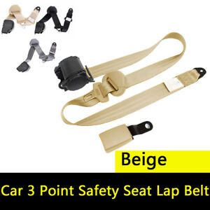 Auto Car 3 Point Safety Seat Lap Belt Set Retractable Grey Curved Rigid Buckle