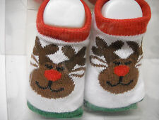 Baby Booties Socks*18-24 mo*2 PAIR*CHRISTMAS*Rudolph+Green Red Stripes~FREE SHIP