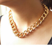 "Newest Shiny Cut LIGHT GOLD Plated Chunky Aluminium Curb Chain Necklace18""""38"""