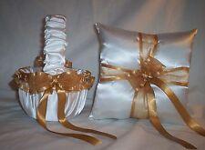 WHITE SATIN / ANTIQUE GOLD TRIM FLOWER GIRL BASKET & RING BEARER PILLOW #2