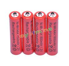 4x Color rojo AAA 1800mAh 1.2V Ni-MH recargable 3A batería para MP3 RC Juguetes