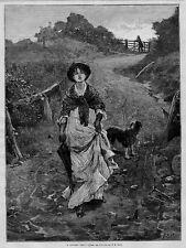 WOMAN AND GENTLEMAN LOVERS TIFF 1878 HARPER'S WEEKLY ANTIQUE ENGRAVING