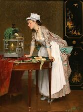 Art Oil painting Joseph Caraud - Beautiful young lady with The Pet bird Canaries