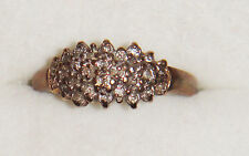 VINTAGE 9K 9CT 375 GOLD CLUSTER .10 CARAT DIAMOND RING BIRMINGHAM HALLMARK ASSAY