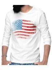 Herren Longsleeve T-Shirt Männer Langarmshirt Sweat Amerika Fahne Stars Stripes