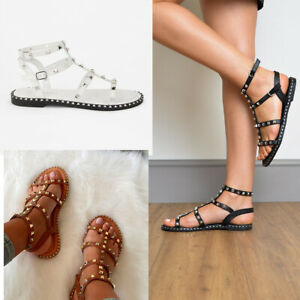 Womens Flat Studded Strappy Sandals Ladies Ankle Strap Gladiator Peep Toe Shoes