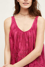 Anthropologie Raspberry Pink Broiderie Anglais Top Hippie Pink Boho Chic Size 14