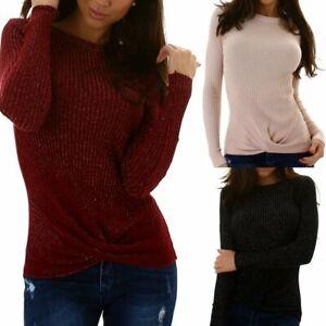 SeXy Miss Damen Trendy Pullover Girly Strick Pulli Lurex Glitzer Wickel 34/36/38