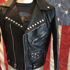 Used Genuine leather black biker jacket W Harley patch N studded size 42 medium