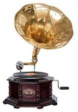 Nostalgie Grammophon Gramophone Dekoration mit Trichter Grammofon Antik-Stil (f)