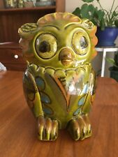 """Vintage Ceramic Green Owl Coin Bank Italy Pottery 7"""" Tall Mid Century"""