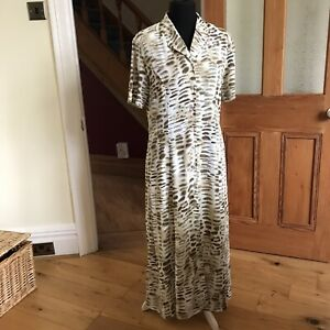 Gerry Weber Long Midi Short Sleeve Dress Size 38 UK 12 Cream Brown Button Front