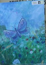 """Blue Butterfly In Field  26""""x 36"""" Canvas print on a wooden stretcher frame"""