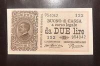 2 LIRE BUONO DI CASSA EFFIGE VITTORIO EMANUELE III 17/10/1921 Raro - Italy