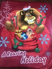 dreamworks MADAGASCAR CHRISTMAS BLANKET fleece KIDS throw HOLIDAY lion RED car
