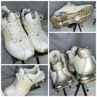 Nike Shox Sz 9.5 Men White Leather Running Shoes EUC YGI E0-566
