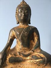 Antique Northern Siam Bronze Enlightenment Buddha Statue, Gold Gilding, 24cm