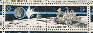 Space Achievements, 1971 sheet of stamps, First Electric Car in Space Sc# 1434-5