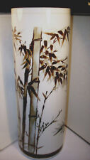 """ATTRACTIVE VINTAGE JAPANESE STUDIO PORCELAIN 11"""" VASE HAND PAINTED BAMBOO SND XC"""