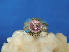Custom Gents 4.60 ct. Round Pink Sapphire Sterling Silver Ring Sept. Birthstone