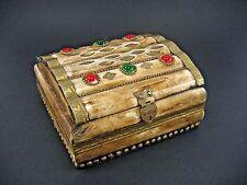 1940 -1960 ceramic / bone / ? Handmade stone Box Jewelry Storage Unique Vintage