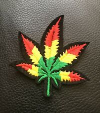 Rasta Coloured Leaf Embroidered Iron On Sew On Patch Applique Motif Badge B2G1F