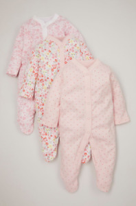 Baby Girls Sleepsuits Babygrows FLORAL SPOT Multipack Ex Nutmeg All In One Pink
