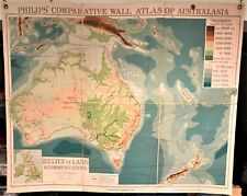 Original 1921 Philips' Comparative WALL Atlas ~ AUSTRALIA Relief of Land ~ Map