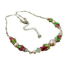 Rose Necklace Glass Lampwork Jewelry with Crystals from Swarovski