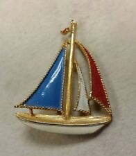 Red, White,& Blue Sailboat Pin/Brooch