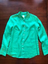 JCrew Perfect Shirt Linen Green Sz 4 Button Down