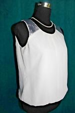 ANN TAYLOR LOFT Ivory Chiffon Bloussan Blouse Silver Sequins XS Sleeveless Top