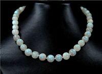 Wunderschöne Halskette aus echtem Mondstein Kugelform Ø-10 mm 925er Silber