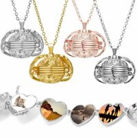 4 Photo Locket Necklace Magic Ball Heart Angel Wing Pendant Family Memorial Gift