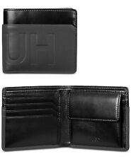 HUGO BOSS Men's Hero 4CC Card Holder Coin Pocket Leather Wallet Black NEW $195
