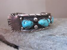 Signed Vintage Collectable Navajo Sterling Silver and Turquoise Watch Bracelet