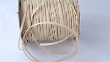 2M Cream Faux Leather Flat Cord Necklace String Thong Lace Craft Beads 3mm